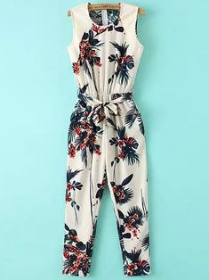 Leaf Print Sleeveless Jumpsuit: I love this. Perfect with my cognac heels!Product name: Beige Sleeveless Leaves Print Tie-waist Jumpsuit at SHEIN, Category: JumpsuitsWomen's jumpsuit - Take Tropical Trip Summer Outfits, Girl Outfits, Cute Outfits, Fashion Outfits, Jumpsuits For Girls, Jumpsuit Pattern, Inspiration Mode, Girl Fashion, Womens Fashion