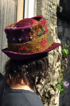 Items similar to Magic felt hat  Autumn  - felted natural wool hand dyed  teeswater curls handmade - green red purple olive - men women unisex - Made  to ... c6e86c35792a