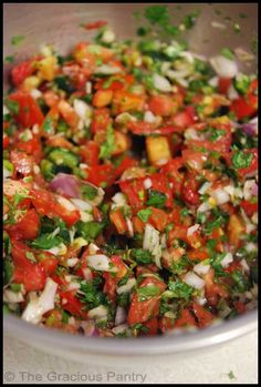 Cilantro Salsa Recipe..ingredients are approximate measure. Adjust to your liking.5-6 small-medium tomatoes  4 small garlic cloves .Pepper(choose the type  amount based on how spicy you like your salsa) Cilantro abt1/2 cup chopped,Red onion ..Chop all ingredients well. Mix in a bowl and serve! add lime juice if to your liking !