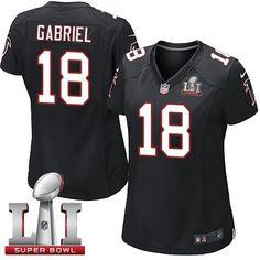 Nike Falcons #18 Taylor Gabriel Black Alternate Super Bowl LI 51 Women's Stitched NFL Elite Jersey