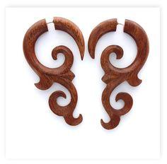 Fake Gauges Wood Earrings tribal style fake piercings hand made faux gauge