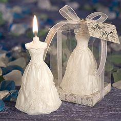 Elegant Wedding Dress Candle - A Wedding Less Ordinary
