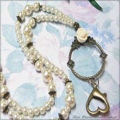 Cream Pearl Rose - Beaded Lanyard, key ring, id badge holder, reading glasses