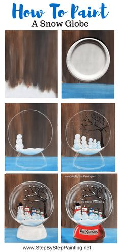 Customize your family of Snowmen in this cute snow globe painting! Beginners acrylic painting tutorial step by step.