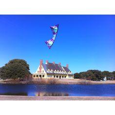 Custom kite at Whalehead club. Corolla NC.  Kite made by Elliott at Fling Smiles Kites, Corolla NC.