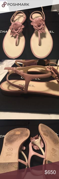 Authentic Chanel Camelia Sandals! In Very Good condition.  Some wear at bottom of shoes.  One tiny nick in front right tip of shoe.  Can barely see it. Otherwise in excellent condition everywhere else.  A very chic shoe. Pink in color. CHANEL Shoes Sandals