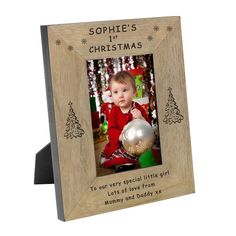 Record for all eternity your baby's 1st Christmas.  Add their name and message to either a landscape or portrait photo frame.  Available in 4x6 or 5x7. Freepost