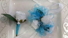 Check out this item in my Etsy shop https://www.etsy.com/listing/276113316/light-blue-wrist-corsage-and-matching