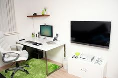 This is White Room Green Rug Office Furniture Design Item of Home Office Design Ideas. Home Office and Workplace interior design ideas. White Walls and Table, computer set And green rug design
