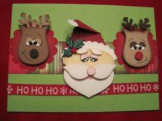 Reindeer, Santa punch art by joanne