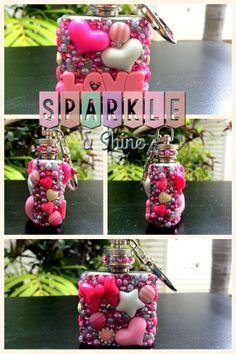 Love Drunk Kawaii Decoden Keychain Flask by SparkleAndShineByLW, $25.00