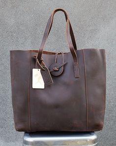 008bc326c1 Vintage Glove Leather Tote - Dark Chocolate - PRE-ORDER