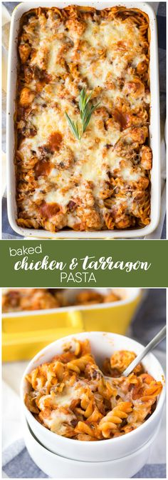 Baked Chicken & Tarragon Pasta - This savoury casserole will easily feed a family of four. It's a little on the spicy side, but oh so yummy!