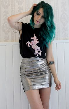 Silver mini with a unicorn tshirt and hot green hair x
