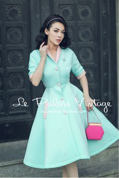 FREE SHIPPING Le Palais Vintage limited edition retro fresh sweet mint green hit color high waist dress/vestidos