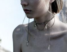 Bergskristall. Post-apocalypse fashion / post-apocalyptic / dystopian / accessories / jewelry / jewellery / earrings / necklace / style / details