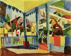 August Macke (1887-1914) - Terrasse des Landhauses in St. Germain - Terrace of the Country House in St. Germain (1914)
