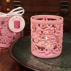 Pink Steel Garden Candle Holder With Glass Cup And Tea Light Candle – Sophie's Favors and Gifts