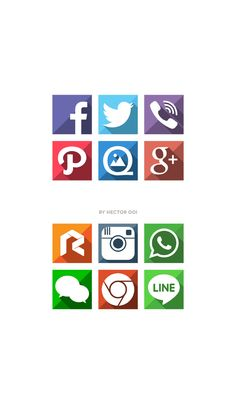 Long Shadow Flat Icons by Hector Ooi, via Behance