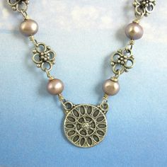 Sterling Silver Gothic Necklace Rose Window by NicolettesJewelry, $64.00