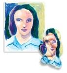Melted Paintings  Part Salvidor Dali, part Shrinky Dinks, self portraits.