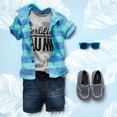 'Certified hunk' | Toddler clothes | Boys' fashion | Graphic tee | Woven top | Denim shorts | Shoes | Retro sunglasses | The Children's Place