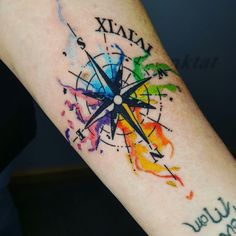 Watercolor compass from the other day.