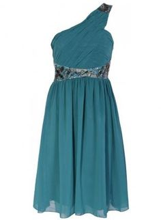 Teal Green One Shoulder Chiffon Dress with Diamente Detail,  Dress, embellished dress  one shoulder, Chic