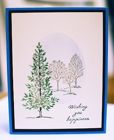 Stamping Charm: Lovely as a Tree by Stampin Up. Lovely Christmas card with masked background.