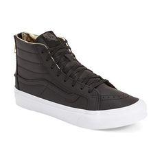Vans 'Sk8-Hi Slim' Zip Sneaker ($80) ❤ liked on Polyvore featuring shoes, sneakers, skate shoes, black skate shoes, black high top shoes, vans high tops and black leather sneakers