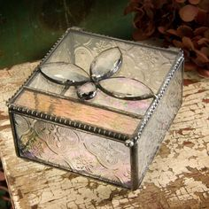 Vintage & Champagne Glass Jewelry Boxes | J. Devlin Glass Home Decorations