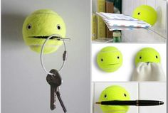 bolas de tênis pode ser usado para pendurar toalhas, chaves e canetas.