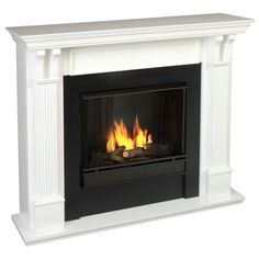 Real Flame Ashley 48 in. Gel Fuel Fireplace in White-7100-W - The Home Depot