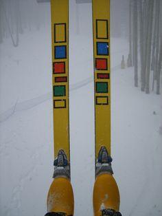 Mine were black and I loved them! Alpine Skiing, Snow Skiing, Fish Surfboard, Vintage Ski Posters, Snow Place, Ski Equipment, Ski Wear, Utah, Outdoor Living