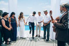 An Inbal Raviv Bride for a Boho-Chic Seaside Jewish Wedding at Trask, Tel Aviv Port, Israel - Smashing the Glass Jewish Weddings, Hanging Flowers, Tel Aviv, Great Photos, Wedding Blog, Seaside, Israel, Boho Chic, Groom