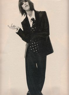 """""""Jagger Edge"""", W US, June 1995Photographer: Satoshi SaikusaModel: Laurie Bird Happy birthday, Laurie! (November 18, 1974, 40 today)"""