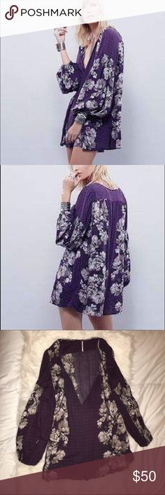 FP floral romper Purple floral romper. Cinched bell sleeves. Tie up front and low V purchased at free people Free People Other