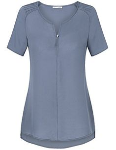 91fd0d15 Tunic Blouses Women,Messic Women's Fashion 2017 Curved Hem V-Neck Short  Sleeve Pleated Office Long Shirts(Grey Blue,Medium)