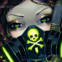 Cybergoth / Cyberpunk Fairy Faces of Faery 219 Jasmine Becket-Griffith biohazard gasmask gas mask gothic skull skeleton art lowbrow art Strangeling cyber Gas Mask Drawing, Gas Mask Art, Masks Art, Gas Masks, Anime Mascaras, Canvas Art Prints, Fine Art Prints, Arte Lowrider, Arte Emo