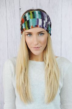 Tie Dye Mesh Stretchy Headband  MultiColor Gauze by ThreeBirdNest, $24.00