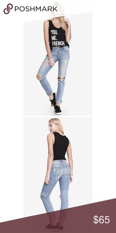"Express girlfriend jean - light wash Express girlfriend jean in light wash. Features distressed legs, front and back pockets. True to size. Waist 15"" and inseam 30"". Express Jeans"