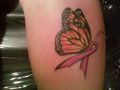 Pink Ribbon Butterfly Tattoo | ... and quite a few other cousins got tattoos to show our support for her