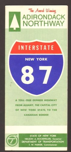 1971 Vacation Travel Brochure New York Interstate 87 Adirondack Northway NY