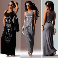 Women's Beach Long Maxi Tank Dress Cat Boho Evening Party Vest Sundress Summer