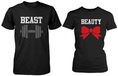 Women's Clothing, Tops & Tees, Knits & Tees, Beauty and Beast Couple Tees Cute Matching T-Shirts (Men-XL/Women-L) - & Tees Cute Couple Shirts, Disney Couple Shirts, Couple Tees, Matching Couple Shirts, Matching Couples, Cute Couples, T Shirts For Couples, Couple Stuff, Romantic Couples