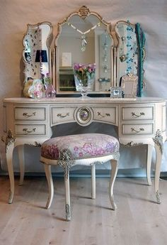 beautiful vanity and stool