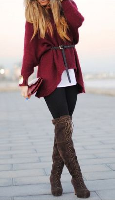 Fall Essentials. Burgundy chunky sweater, black tights, brown high boots. Autumn women fashion outfit clothing style apparel @roressclothes closet ideas