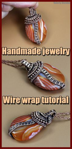 Wire wrapping pendant tutorials. Pendant made of copper wire and stones with your own hands. Step by step tutorial for beginners from Valeriy Vorobev. Today we are going to make such a nice pendant together with you. The pendant is not difficult to make. The lesson is good for beginners to practice making weavings and bending them around a stone. What do we need for the work? Wire Pendant, Wire Wrapped Pendant, Wire Wrapped Jewelry, Wire Jewelry, Handmade Jewelry, Wire Weaving Tutorial, Stone Beads, Stones, Tree Of Life Pendant
