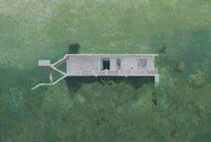 Edi Hila, Dom na zielonym tle 1, 2005 akryl, płótno, 91 × 135 cm Kolekcja Bujara Musy
