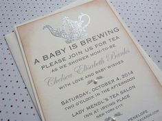 Baby Shower Tea Party Invitation, Mom-to-be Party,  Vintage Inspired - 10 invitations and envelopes